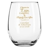 """Personalized 15oz """"Cheers to Love ..."""" Stemless Wine Glasses"""