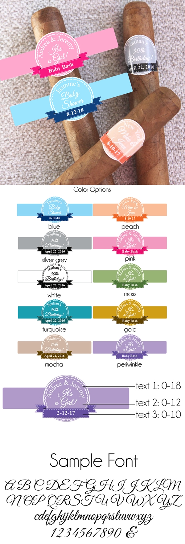 Personalized Classic Banner Cigar Stickers (10 Colors) (Set of 20)
