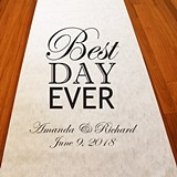 "Personalized ""Best Day Ever"" Motif Aisle Runner (19 Colors)"