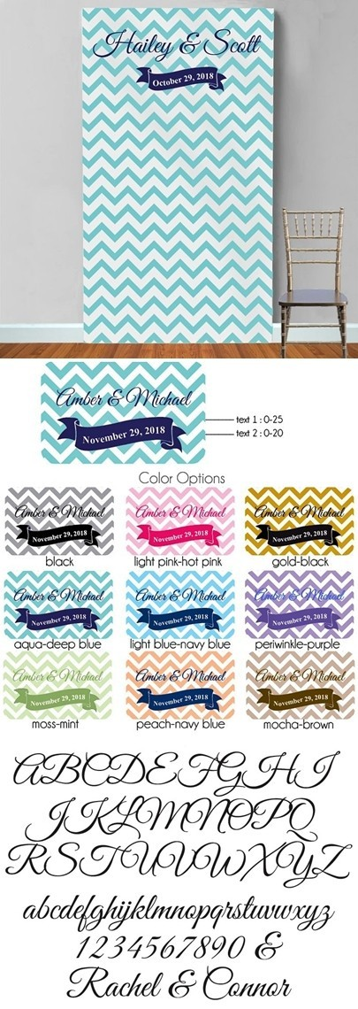 Personalized Chevron Stripes & Banner Photo Booth Backdrop (9 Colors)