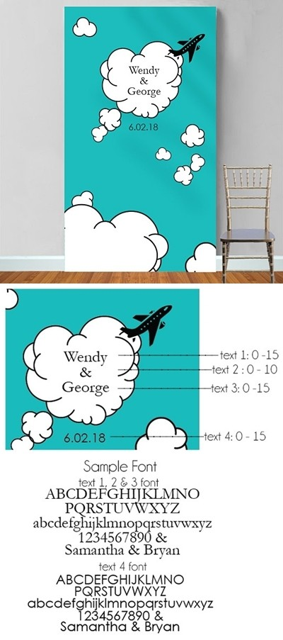 """Personalized """"Come Fly with Us"""" Photo Booth Backdrop"""