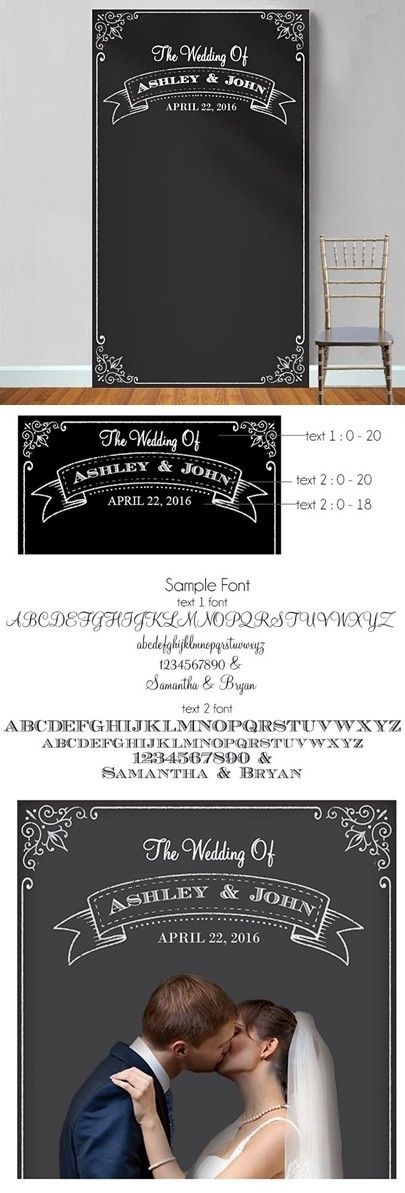 Personalized Chalkboard Banner Motif Photo Booth Backdrop