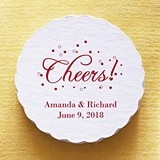 """Personalized """"Cheers!"""" Design Scalloped Coasters (Set of 25)"""