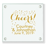 "Personalized Festive Confetti ""Cheers!"" Design Glass Coaster"