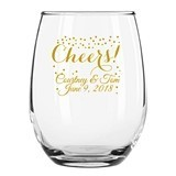 Personalized 15oz Confetti Cheers! Design Stemless Wine Glasses