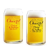 Personalized Confetti Cheers! Design 16 ounce Beer Can-Shaped Glass