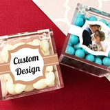 Personalized Acrylic Favor Boxes with 'Custom Design' Stickers