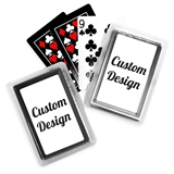 "Deck of Playing Cards with ""Custom Design"" Sticker on Case"