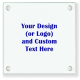 Personalized 'Your Design and Text' Glass Coasters (18 Ink Colors)