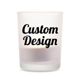 "Personalized ""Custom Design"" Frosted Glass Votive Holder"