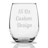 Engraved 15oz 'Custom Design' Personalized Stemless Wine Glass