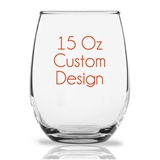 "Personalized 15oz ""Your Custom Design"" Stemless Wine Glasses"