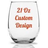 "Personalized 21oz ""Your Custom Design"" Stemless Wine Glass"
