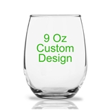 "Personalized 9oz ""Your Custom Design"" Stemless Wine Glass"