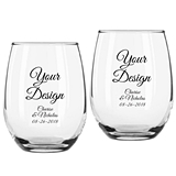 "Personalized ""Your Design"" Stemless Wine Glasses (3 Sizes)"