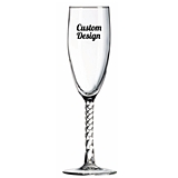 "Personalized ""Your Design"" 6 oz Twisted Stem Champagne Flute"