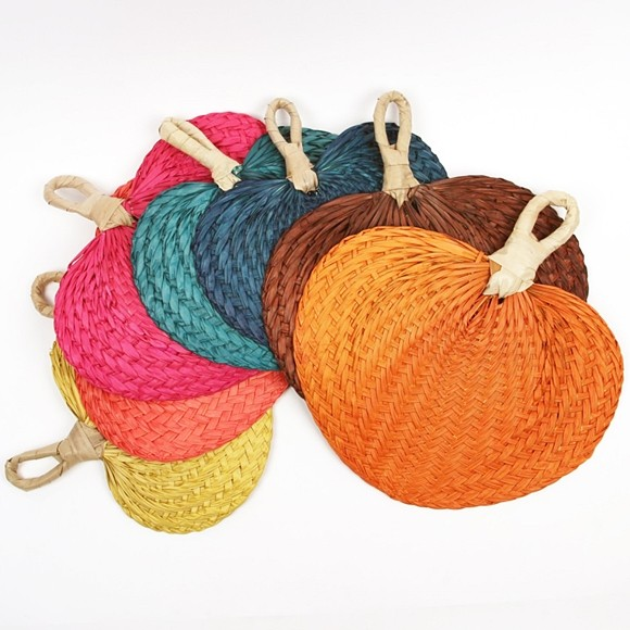 Colorful Hand Fans Made from Buri Palm Leaves (7 Colors) (Set of 10)