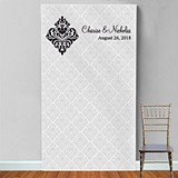 Personalized Damask Motif Photo Booth Backdrop (9 Colors)