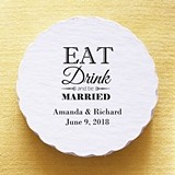 Personalized Eat, Drink and Be Married Scalloped Coasters (Set of 25)