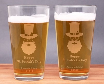 Engraved Bearded Bespectaled St. Patrick's Day Pint Glasses (Set of 2)