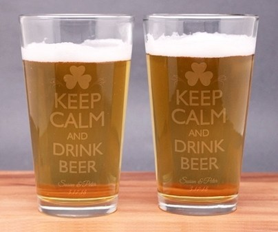 "Engraved ""Keep Calm and Drink Beer"" Pint Glasses (Set of 2)"