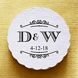 Personalized Elegant Two Initials Scalloped Coasters (Set of 25)