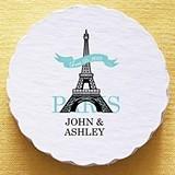 Personalized Paris Eiffel Tower Motif Scalloped Coasters (Set of 25)