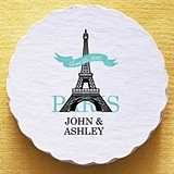 Personalized Paris Eiffel Tower Motif Scalloped Coasters (Set of 25)