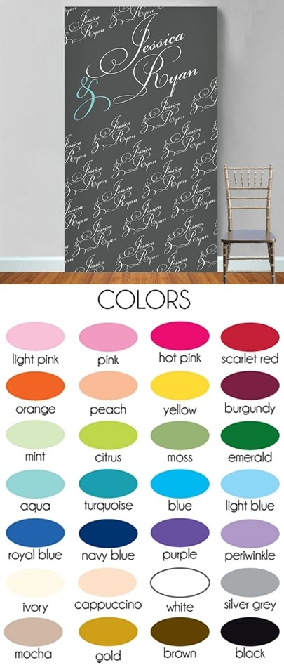 Personalized Fancy Script Names & Ampersand Motif Photo Booth Backdrop