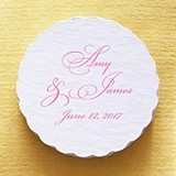 Personalized Fancy Script Scalloped Coasters (Set of 25)