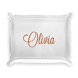 Contemporary Script Design Personalized Acrylic Catchall Tray