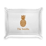 Welcoming Pineapple Design Personalized Acrylic Catchall Tray