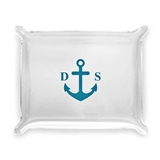 Anchor with Initials Design Personalized Acrylic Catchall Tray