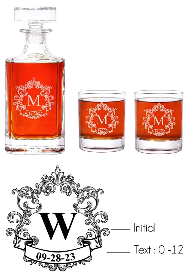 Abby Smith Engraved Vintage Initial Monogram 3-piece Decanter Set