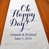 "Personalized ""Oh Happy Day!"" Aisle Runner (19 Colors)"