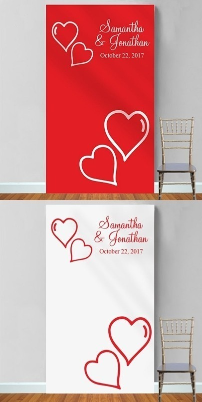 Personalized Two Hearts Motif Photo Booth Backdrop (Red or White)