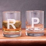 Engraved Contemporary Initial Shot Glasses/Votive Holders (Set of 2)