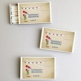 Personalized Patriotic Daisy Flowers White Matchboxes (Set of 50)
