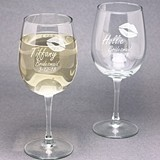 Engraved 'Smooch' Kiss Design Bridal Party Wine Glasses (Set of 2)