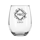 15oz 'Woodsy Botanical' Diamond Monogram Stemless Wine Glasses