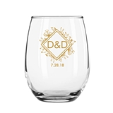 9 ounce 'Woodsy Botanical' Couple's Monogram Stemless Wine Glasses