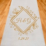 Personalized Floral Garden Diamond Design Aisle Runner (19 Colors)