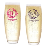Personalized Rustic Woodlands Wreath Design Stemless Champagne Flutes