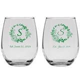 Personalized Rustic Woodlands Wreath Design 9oz Stemless Wine Glasses