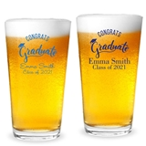 "Personalized ""Congrats Graduate"" Cap Design 16oz Pint Glass"