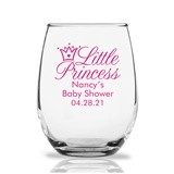 Personalized 9oz 'Little Princess' Crown Design Stemless Wine Glass