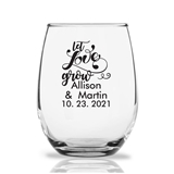 Personalized 9 ounce 'Let Love Grow' Design Stemless Wine Glasses