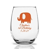 Personalized 15oz Cute Baby Elephant Design Stemless Wine Glasses