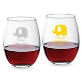 Personalized 9 ounce Baby Elephant Design Stemless Wine Glasses