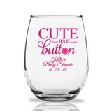 Personalized 9 oz 'Cute as a Button' Design Stemless Wine Glasses